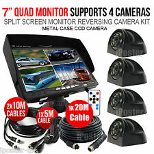 """7"""" QUAD SPLIT SCREEN MONITOR 4x SIDE VIEW BACKUP CAMERA SYSTEM FOR TRUCK TRAILER"""
