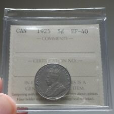 1925 Canada 5 Cents ICCS EF-40 / XF-40 - Book Value $450 - Key Date Coin