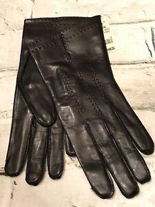 FAB! Vintage Ann Taylor Black Leather w Silk Lining Wrist Gloves Size 7 NEW!