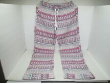 Victoria's Secret Cotton Blend White/Pink FAIR ISLE PRINT Pajama Pants XS SHORT