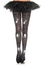 Noir Opaque avec Blanc Toile Araignée Collants en Nylon Sexy Halloween Lingerie