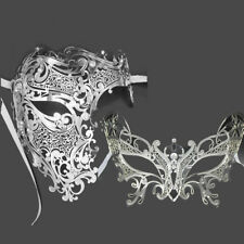 Men Women Couple Silver Metal Phantom Evil Venetian Laser Cut Masquerade Masks