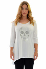 New Ladies Top Plus Size Womens Skull Stud Rhinestone Shirt Gothic Nouvelle