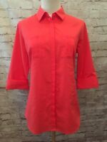Worthington Womens Size S Coral Career Shirt Blouse Button Down 3/4 Sleeve NEW