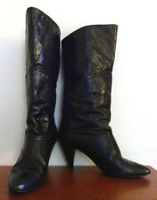 Vintage 1980's Tall Black Eelskin Boots by Joyce, Mint Condition, Size 8 M