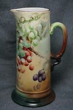"""Limoges J.P. Jean Pouyat HAND PAINTED GRAPES PITCHER - Signed A.F.B. 11 1/2"""""""