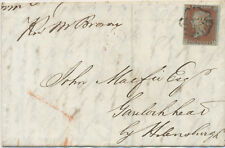 GB 1843 QV 1D red-brown bluish paper (CL), plate 30 full margins to Garelochhead