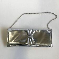 Icing Silver Rectangle Rhinestone Evening Bag Clutch w/ Chain