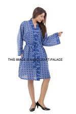 Women Cotton Kimono Dressing Gown Bath Robe Nightie Dress Sleepwear Blue Dress