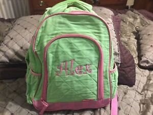 "Stephen Joseph Quilted Girls Backpack~Light Green/pink Trim And Monogram""Alex"""