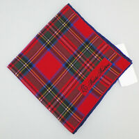 BROOKS BROTHERS Mens Red Blue Green Yellow PLAID Silk Pocket Square Italy NWT