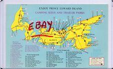 MAP POSTCARD-CAMPING SITES & TRAILER PARKS-ENJOY PRINCE EDWARD ISLAND,CANADA