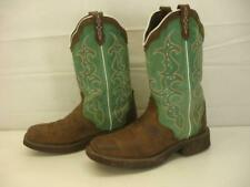 Women's 9 B M Justin Gypsy Barnwood L2904 Square Toe Boots Raya Brown Turquoise