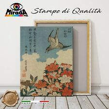 QUADRO Hokusai Cuckoo and Azaleas azalee STAMPA TELA CANVAS Giappone ideogrammi