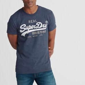 Superdry Herren VL Premium Goods Heat Sealed T-Shirt Short Sleeve M1000107A Blau