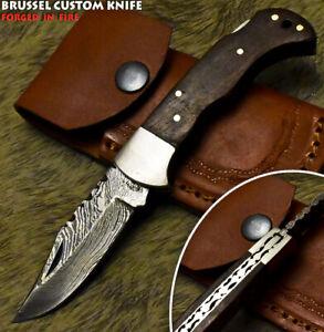 Brussel Custom Handmade Damascus Walnut Wood Hunting Folding Knife Back Lock