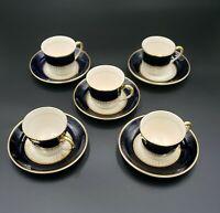 Fondeville Ambassador Ware Navy Blue & Cream w/Gold Trim Demitasse 4 oz.