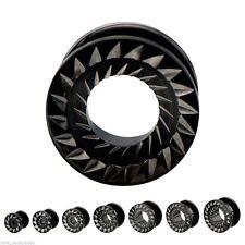 "Pair-Black Pvd w/Steel Sawblade Inlay Screw On Ear Tunnels 14mm/9/16"" Gauge Body"