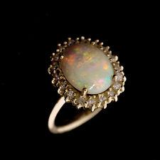 Gold Ring 585er Gelbgold 14K | Gr. 53 | Opal - 18 Diamanten ca. 0,27 ct. H/SI