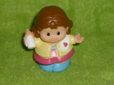 Fisher Price Little People Brown Hair Mom Girl Baby Bottle Blue Shoes #2