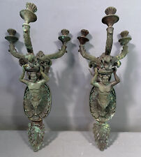 LG Pair (2) Antique BRONZE Victorian WINGED NUDE MAN STATUE Figural WALL SCONCES