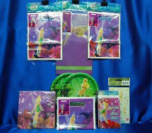 Disney Fairies Tinkerbell Party Set # 9 Napkins Tablecloth Plates Loot Bags
