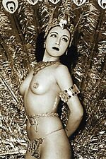 VINTAGE KOREAN ASIAN NUDE WOMAN BURLSEQUE DANCER HEADDRESS EXOTIC PEACOCK PHOTO