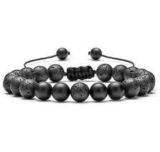 Adjustable Lava Black Agate Bracelet Essential Oil Anxiety Stress Ladies Men's