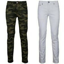 Mens Skinny Fit Jeans Pants Casual Stretch Pencil Trousers Camo and White