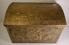 "Vintage Brass Chest Antique Wood Handmade 15""x10""x 11"" Trunk Pirate Ship Design"