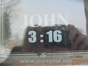 John 3:16 window decal w/dove,clear with white letters,great for car rear window