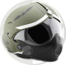 OPEN FACE SCOOTER HELMET OSBE GPA AIRCRAFT TORNADO GREEN ARMY M 57-58 cm + MASK