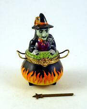 NEW FRENCH LIMOGES TRINKET BOX WITCH IN CAULDRON WITH BLACK CAT OWL & MAGIC WAND