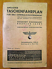 Original Amtlicher Taschenfahrplan für das Generalgouvernement - 1942.