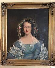 """19th c 30 x 35"""" Antique Oil Portrait Painting woman blue lace evening gown lady"""