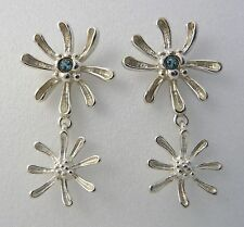 Ola Gorie Silver Honeysuckle Earrings Blue Topaz Scottish Boxed