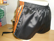 Nylon Glanz Satin FOOTBALL Shorts Small - XXXXL 70s & 80s Retro, Black & Orange