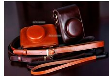 Brown leather case bag for Panasonic LX7 camera or Leica D- LUX 6 LUX 5 camera