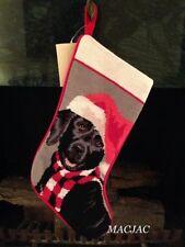 Black Lab Labrador Dog Needlepoint Christmas Stocking NWT