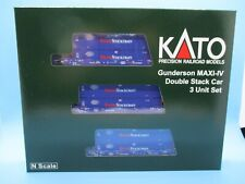 KATO N SCALE GUNDERSON MAXI-IV DOUBLE STACK CAR SET - PACER W/PACER CONTAINERS