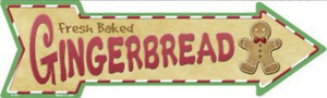 "Gingerbread Cookies Novelty Metal Arrow Sign 17"" x 5"" Wall Decor - DS"