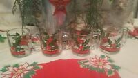 Vintage 4 Libbey Holly & Berry Red Ribbon Glass Cider Coffee Cups Glassware Mugs
