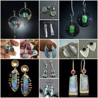 925 Silver Opal Moonstone Earrings Ear Studs Hook Dangle Drop Women Jewelry Gift