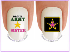 Nail Art #5653 MILITARY Army Sister Pink Star WaterSlide Nail Decal Transfers