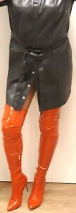 Schwarzes XL Leder PU Stretchkleid mit Gürtel, Kurzarm wie Mantel, neuwertig