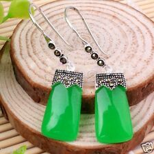 New Fashion Natural Green Jade Gemstone 925 Sterling Silver Marcasite Earrings