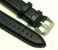 22mm Black Quality Leather Replacement Watch Strap - Guess Fossil 22 Men's