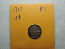 1913 5 Cent Coin Canada King George V Five cents .925 Silver AU Grade