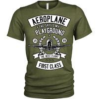 The Sky is my playground T-Shirt Aeroplane Unisex Mens