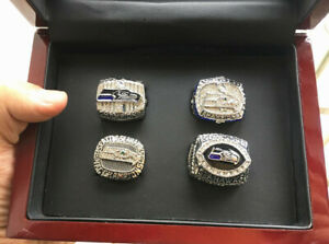 4pcs Seattle Seahawks American Football Team ring Set With Wooden Box Fan Gift